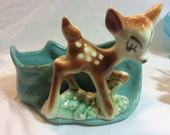 Vintage Bambi Fawn Deer Ceramic Planter No Makers Mark Turquoise Speckled 1950's