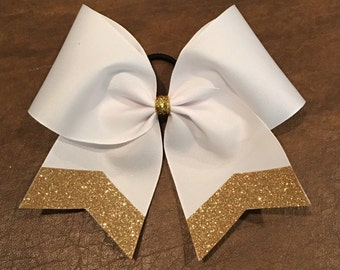 Practice Cheer Bow - White with Chevron