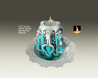 Valentines day gift, Romantic gift for her, Carved Candle, Small candle, Turquoise and black