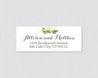 Green and White Wedding Address Labels - Greenery Return Address Labels for Weddings, Rustic Return Address Labels/Stickers 0007