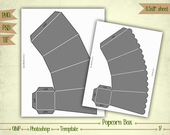 Popcorn Box - Digital Collage Sheet Layered Template - (T017)