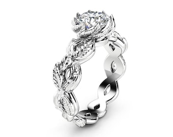 Diamond Wedding Ring Conflict Free Diamond Engagement Ring Unique Floral 1 Carat Diamond Wedding Ring