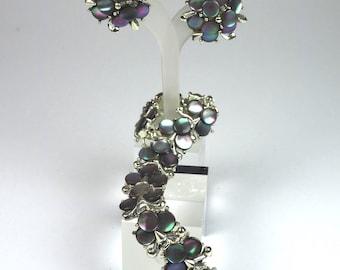 Vintage Jewelry Set-mother of pearl-MARHILL-Earrings & Bracelet-Parure-gift-mid century jewelry-designer jewelry