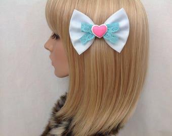 Pastel blue pink heart hair bow clip rockabilly psychobilly kawaii cute pin up girl sweet geek macaron lolita barbie ladies women's kitsch