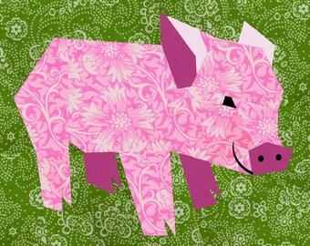 Pig quilt block, paper pieced quilt pattern, PDF pattern, instant download, pig pattern, piglet pattern