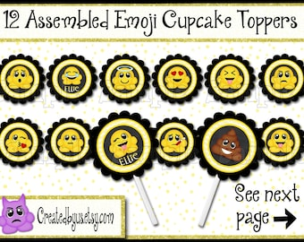 Icon Cupcake Toppers Boy or Girl Smiley face cupcake toppers Decorations Custom Emotican favors cupcake picks cake topper 12 assembled