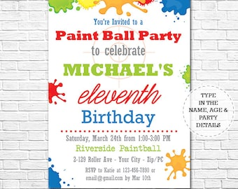 Printable invitation etsy paintball birthday party invitation paintball invitation printable invitation instant download personalize at filmwisefo Choice Image