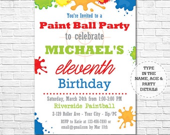 Printable invitation etsy paintball birthday party invitation paintball invitation printable invitation instant download personalize at filmwisefo Image collections