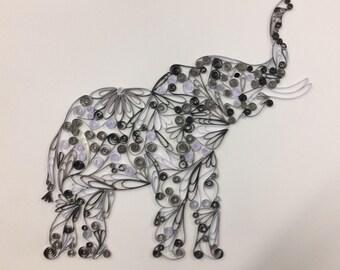 Quilled Paper Art Elephant Print, Wall Art