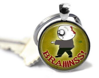 Brains, Zombie Keychain, Horror Keychain, Walking Dead, Zombie Lover, Halloween Keychain, Halloween Necklace, Goth Jewelry