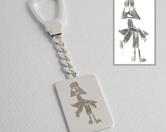 Porte-clés personnalisé en argent sterling fait de dessins de vos enfants, gravé sur une plaque rectangulaire en argent, Darth Vader Keychain, Unique