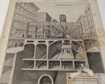 1910 Scientific American Magazine Chicago subway tunnel May 28