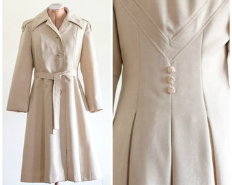 Khaki fit and flare belted trench coat