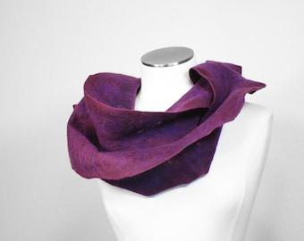 Burgundy Purple Fashion SCARF Handmade Nuno Felt Silk Plus Merino Wool Thin Gauze Hand Dyed Felted Womens Style Wearable Art - READY To SHIP
