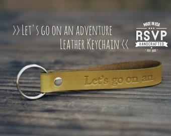 Let's go on an adventure Keychain Leather Personalized, Custom Leather Keyring, Key Chain, inspirational quote, infinity, arrow, tribal