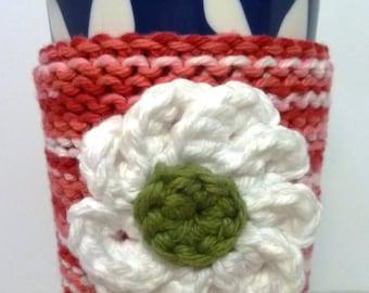 Zinnia Coffee Cozy, Knit and Crochet