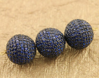 Pave Beads, Pave Diamond Beads, Pave Blue Saphhire Beads, Diamond Saphhire Beads, Pave Findings, Pave Metal Beads, Oxidized Silver.(BS-BA12)