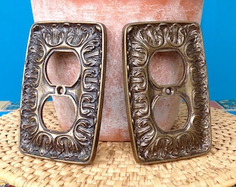 "FREE SHIPPING-Vintage ""PAIR"" Antique Brass Metal Outlet Cover Plates-Industrial Salvage-Bohemian-Mid Century-Shabby Chic-Vintage Hardware"