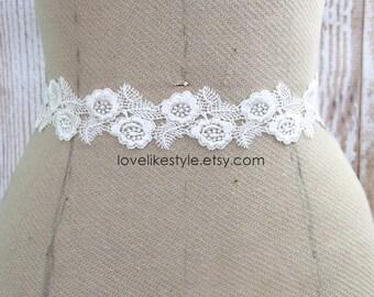 Ivory Venice Lace Sash, Bridal Ivory Lace Sash,Bridesmaid Sash, Flower Girl Sash, Ivory Lace Sash