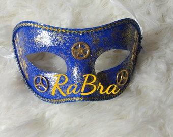 Steampunk Blue and Gold Stars mask masquerade Gears Pirate Ren Fest