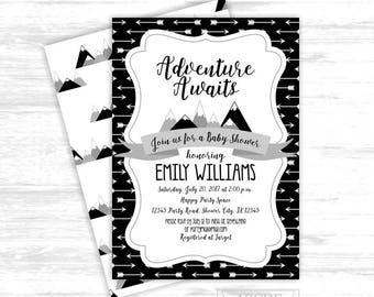 Adventure awaits Baby shower Modern Mountain Baby Shower tribal baby shower travel boy baby shower printable invitation (ADV008)