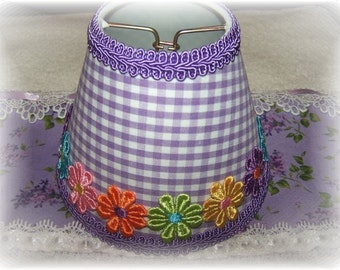 NEW Purple & White Checks With or Without Colorful Applique Daisy's Gingham MINI Clip On Shade