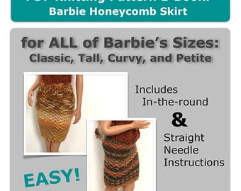 Barbie Easy Knitting Pattern for Beginner Skirt (Instructions for straight needles & in-the-round), Classic, Tall, Petite, and Curvy Barbie