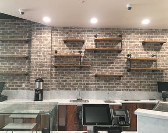Wall Mounted Industrial Pipe Shelving - Commercial store shelves - wall shelf