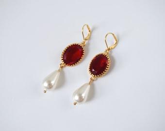 Ruby and Pearl Earrings, Ruby Red Pearl Georgian Paste Glass Earring, Tudor Earring, Elizabethan Jewelry,  Regency earring, Queen Elizabeth