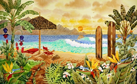 Surfboards on the Beach, Hawaiian Islands, Beach Chair on the beach, Palapa and chair on the Beach, Tropical Flowers