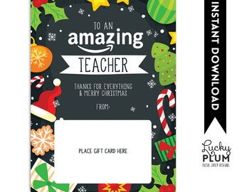 Amazon Gift Card Holder / Teacher Thank You Card / Christmas Gift Card Holder / Teacher Appreciation A Gift / *Digital Download