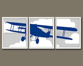 8x10 (3) NURSERY  AIRPLANE PRINTS - Nursery Art, Nursery Decor, Children's Art - Vintage Airplane, Aviation