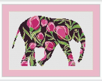 Elephant cross stitch pattern, cross stitch pattern flower, cross stitch pattern modern, cross stitch pattern, PDF, instant download