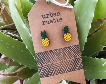 Pineapple wooden stud earrings - fruit earrings - food earrings - wooden earrings - wooden jewelry - wooden jewellery - wooden studs