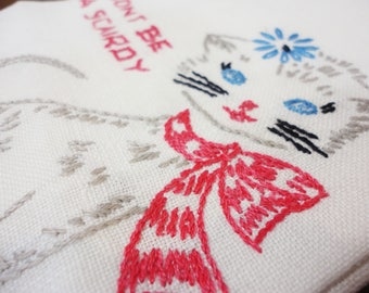 Don't Be a Scairdy CAT Guest Towel  Embroidered