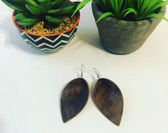 Brown petal earrings