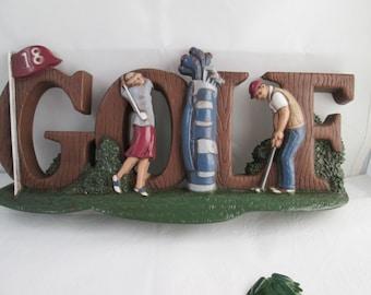 Vintage Golf Plaque by Home Interiors 3D Golf Art 3D Wall Art Burwood art Golf Wall Decor Man Cave Decor gift for golfer gift Golfing plaque