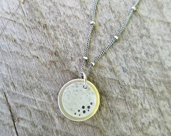 Total Solar Eclipse Necklace; Sterling Silver and 14k Gold Filled