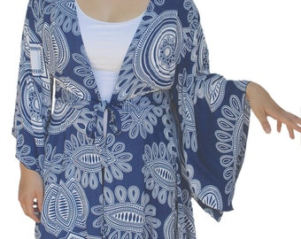 Women's Kimono Plus Size Tunic Cardigan | Lagenlook Plus Size | Boho Kimono Sleeve Jacket, XL and One Size (2X/3X) for FULL FIGURE Women