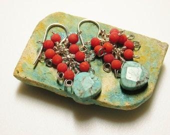 Coral & Turquoise Earrings / Southwest / Southwestern / Cowgirl / Sterling / Western / Matte Coral / Turquoise Magnesite / Handmade