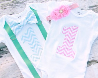 Twin Girl Boy Baby Chevron Cake Smash Outfit Pink Chevron Mint Green Chevron Matching Twins Outfit Gift for Twins one year outfit