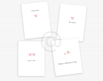 Printable Valentines Mini Heart, Downloadable Valentines, Instant Download, Simple Romantic Valentine