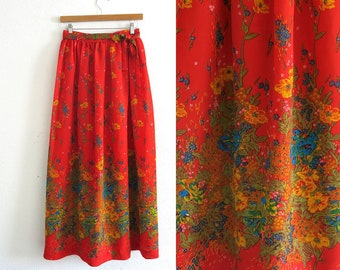 Red Floral Skirt / 70s Maxi Skirt / Size Small 27