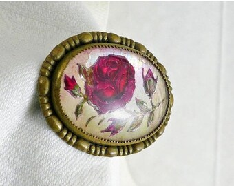 Reverse Painted Victorian Brooch Red Rose Gold Metal Unsigned