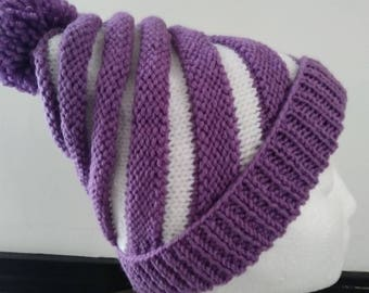 Hand Knitted Infant Swirl hat with pompom, fits 6 years to Adult
