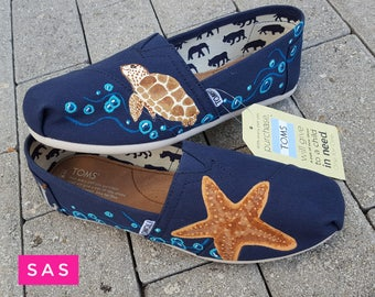 Sea Turtle & Starfish Hand Painted Shoes