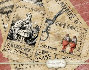 Alice in Wonderland Party Tickets printable images instant download digital collage sheet