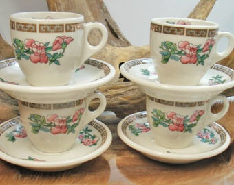 Syracuse China U.S.A. Set of 4 Indian Tree Demitasse Cups and Saucers