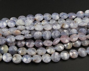 """Natural Iolite Beads 10mm Faceted Coin Beads 16"""" Strand"""