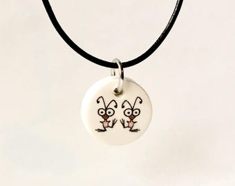 Ceramic Pendant with Original Drawing, Dorky Bird® Necklace, Gift for Teens, Gift for Kids, Gift for Girl, Unisex Necklace for Boy or Girl